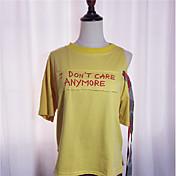 Mujer Noche Algodón Camiseta Un Color / Letra