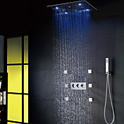 現代風 LED シャワーシステム レインシャワー ハンドシャワーは含まれている with  セラミックバルブ 3つのハンドル8つの穴 for  クロム , シャワー水栓