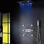 Moderno / Contemporáneo LED Sistema ducha Ducha lluvia Alcachofa incluida with  Válvula Cerámica Tres manijas ocho agujeros for  Cromo ,