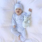 Bebé Una Pieza Chico Algodón Manga Larga Invierno Primavera/Otoño Elegante Una pieza Estilo clásico Casual Rosa Azul claro