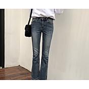 レディース ヴィンテージ ストリートファッション ハイライズ ワイドレッグ ジーンズ マイクロエラスティック ワイドレッグ ジーンズ パンツ ソリッド