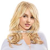 Mujer Pelo humano pelucas sin tapa Negro Natural Honey Blonde castaño medio Rubio Beige // Bleach Blonde Largo Ondulado Parte lateral