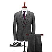グレー 純色 スタンダードフィット ポリエステル スーツ - ノッチドラペル シングルブレスト 一つボタン