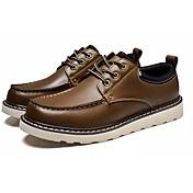 Hombre Zapatos PU microfibra sintético Semicuero PU Primavera Otoño Confort Oxfords Con Cordón Para Casual Negro Marrón