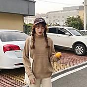 Mujer Corto Pullover Casual/Diario Un Color Escote Redondo Manga Larga Acrílico Otoño Invierno Grueso strenchy