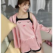 Mujer Satén y Seda Pijamas,Sexy Sólido Estampado Animal Gasa Satén Rosa