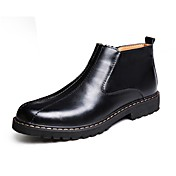 Hombre Zapatos Cuero Invierno Botas de Moda Botas Mitad de Gemelo Para Casual Negro Morrón Oscuro