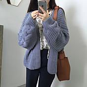 Mujer Manga Larga Algodón Cardigan - Un Color Escote en Pico