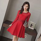 Mujer Línea A Vestido Casual/Diario Activo,Un Color Escote Redondo Sobre la rodilla Mangas largas Algodón Primavera Otoño Alta cintura