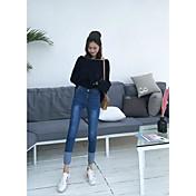レディース シンプル ハイライズ パンツ マイクロエラスティック パンツ パンツ ソリッド ギャラクシー