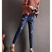 Mujer Casual Tiro Medio Microelástico Vaqueros Pantalones,Estampado Invierno Otoño