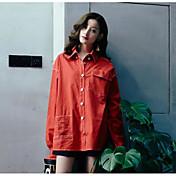 レディース デイリーウェア 春/秋 シャツ,ストリートファッション シャツカラー ソリッド コットン 長袖