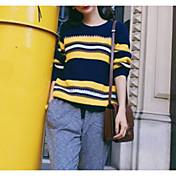 Mujer Regular Pullover Casual/Diario Bloques Escote Redondo Manga Larga Nailon Otoño Medio strenchy