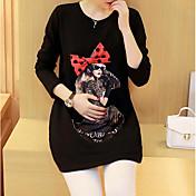 Mujer Bonito Casual/Diario Camiseta,Escote Redondo Un Color Manga Larga Algodón