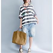 Mujer Bonito Ropa Cotidiana Camiseta,Escote Redondo Estampado Manga Corta Algodón