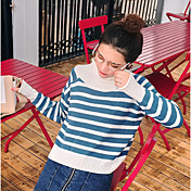 Mujer Regular Pullover Casual/Diario A Rayas Escote Redondo Manga Larga Lana Poliéster Otoño Medio Microelástico