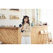 Mujer Regular Pullover Casual/Diario Simple,Estampado Escote Redondo Manga Larga Algodón Medio Microelástico
