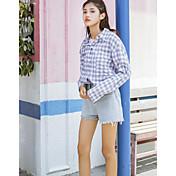 レディース お出かけ カジュアル/普段着 シャツ,キュート ストリートファッション シャツカラー チェック ポリエステル 長袖