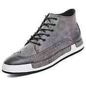 Hombre Zapatos PU Primavera Otoño Confort Zapatillas de deporte Para Casual Negro Gris