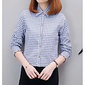 レディース カジュアル/普段着 シャツ,キュート スクエアネック カラーブロック コットン 長袖