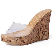 Mujer Zapatos Sintético Primavera Verano Confort Zapatillas y flip-flops Tacón Cuña Punta abierta para Casual Vestido Blanco
