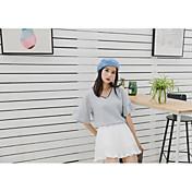 Mujer Sensual Ropa Cotidiana Camiseta,Escote en Pico Un Color Media Manga Algodón