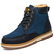 男性用 靴 PUレザー 春 秋 コンフォートシューズ ブーツ のために アウトドア ブラック イエロー ブルー