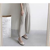 Mujer Vintage Casual Tiro Alto Rígido Perneras anchas Chinos Pantalones,Un Color Algodón Todas las Temporadas