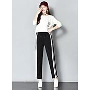 Mujer Casual Tiro Medio Microelástico Pantalones Pantalones,Un Color A Rayas Todas las Temporadas