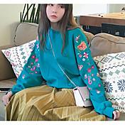 Mujer Sudadera Casual/Diario Simple Un Color Estampado Con Capucha Microelástico Algodón Manga Larga Otoño Invierno