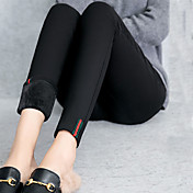 女性用 モダンスタイル 純色 ポリエステル スパンデックス ミディアム ソリッドカラー フリースライナー レギンス,ブラック