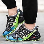 男性用 靴 化繊 春 秋 アイデア コンフォートシューズ ランニング 編み上げ のために ブラック グリーン ロイヤルブルー