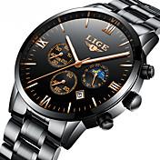 Hombre El reloj mecánico Reloj Esqueleto Reloj de Vestir Japonés Cuerda Automática Calendario Cronógrafo Resistente al Agua Fase lunar