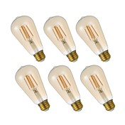 6pcs 4.5W 320lm E26 Bombillas de Filamento LED ST19 4 LED COB Regulable Luces LED Decorativa Bombilla Edison Blanco Cálido 2200K AC