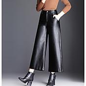 Mujer Casual Tiro Alto Microelástico Perneras anchas Pantalones,Un Color Poliuretano Invierno Otoño