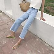 Mujer Activo Tiro Alto Rígido Perneras anchas Pantalones,Un Color Algodón Primavera/Otoño Verano