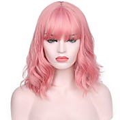 Mujer Pelucas sintéticas Corto Marino Rosa Entradas Naturales Con flequillo Peluca natural Pelucas para Disfraz