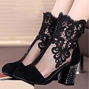 女性用 靴 レース ヌバックレザー 春 秋 ファッションブーツ ブーツ チャンキーヒール ラウンドトウ ミドルブーツ ラインストーン のために カジュアル パーティー ブラック