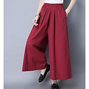 Mujer Perneras anchas Chinos Pantalones - Un Color Malla