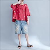 Mujer Chic de Calle Tejido Oriental Casual/Diario Camiseta,Escote Redondo Bordado Algodón Lino