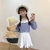 Mujer Bonito Casual/Diario Camisa,Escote Redondo A Rayas Manga Larga Algodón