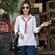 Mujer Activo Ropa Cotidiana Trabajo Camisa,Cuello Camisero Un Color Manga Larga Algodón