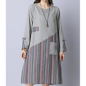 Mujer Corte Ancho Vestido Noche Simple,Bloques Escote Redondo Sobre la rodilla Mangas largas Algodón Primavera Otoño Tiro Medio