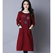 Mujer Algodón Corte Ancho Vestido - Estampado Midi