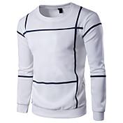 男性用 週末 Tシャツ ラウンドネック スリム ソリッド ストライプ コットン