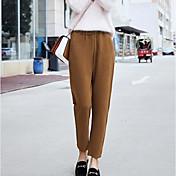 Mujer Simple Tiro Medio Microelástico Perneras anchas Pantalones,Un Color Invierno Otoño