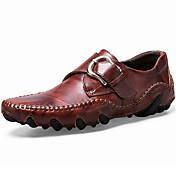 Zapatos Cuero de Napa Primavera Otoño Zapatos formales Confort Zapatos de taco bajo y Slip-On para Casual Fiesta y Noche Negro Marrón Wine