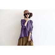 Mujer Chic de Calle Casual/Diario Camiseta,Escote Redondo Un Color Manga Larga Algodón Lino
