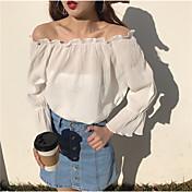 Mujer Chic de Calle Casual/Diario Camisa,Escote Barco Un Color Manga Larga Algodón