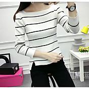 Mujer Corto Pullover Casual/Diario Simple,A Rayas Escote Redondo Mangas largas Acrílico Otoño Fino strenchy